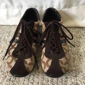 Coach Kathleen style brown sneakers